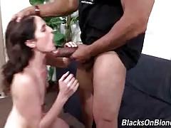 White slut licks off her anal juices from lover`s huge black dick.