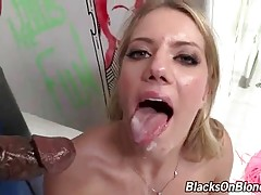 Candice Dare gets her pretty face creamed by black guys.