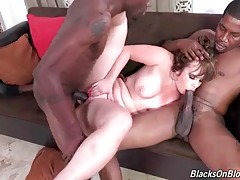 Nasty white babe greatly enjoys great interracial threesome.
