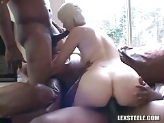 Cute blonde gets facefucked and assdrilled by black dudes.