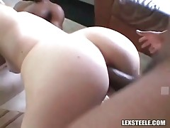 Lovely chick likes to have her ass stretched with big black cock.