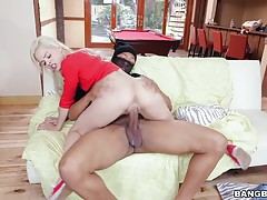 She continues the fun by riding his monster dong and getting plowed by it. She takes command and makes Ricky cum in her mouth and she returns the favor by swallowing the load.