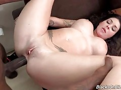 Slutty sexy brunette greatly enjoys deep anal pounding.